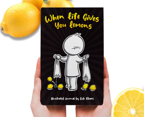 hands holding the When Life gives you Lemons illustrated journal by Rob Stears